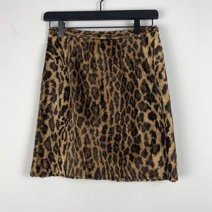 90s Vintage DKNY Fuzzy Leopard print mini skirt